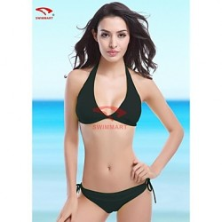 Women Halter Bikinis Australia Tankinis Multi Pieces Swimming Accessories Cover Ups , Solid Wireless Padded Bras Spandex Multi Color