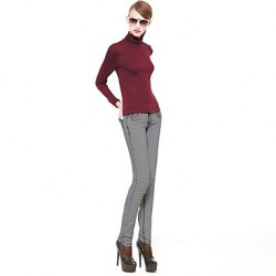 Women Red Green Beige Gray Blouse , Sexy Bodycon Casual Lace Work Long Sleeve