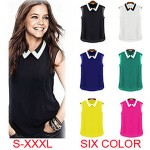 Haocare Casual Candy Color Turn Down Collar Fashion Sleeveless Women Chiffon Blouses Shirts