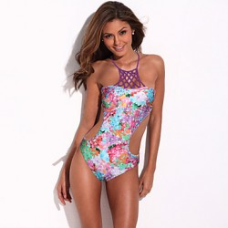Women Halter One Pieces , Floral Nylon Others Spandex