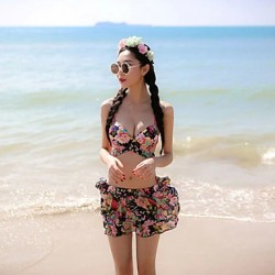Women Padded Bras Underwire Bra Floral Bandeau Multi Pieces Polyester