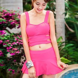 Women Wireless Solid Halter Multi Pieces Polyester