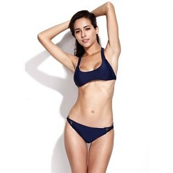 Women's Halter Bikinis Australia , Solid Nylon/Others Blue