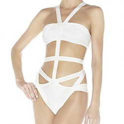 Women's Halter One-pieces , Solid/Bandage Nylon/Rayon/Spandex White