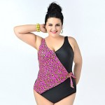 2015 Newest Lady Sexy One piece swimsuit Big Women Plus size Swimwear Australia Leopard Triangle swimwears Beach Bathing suit