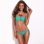 Street Chic - RELLECIGA's Fashionable Doodle Print Triangle Top Bikini Australia Set with Neon Cyan Ties and Removable Padding