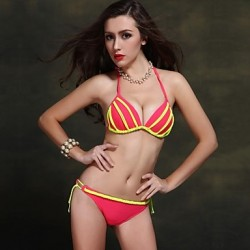 Women Halter Bikinis Australia , Solid Push Up Wireless Padded Bras Nylon Spandex Green Red Black