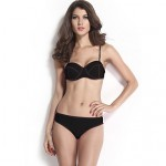 Women's Black Neoprene Push-up Bandage Bikini