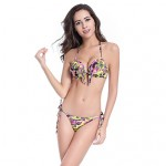 Women's Halter Tankinis , Tassels / Floral / Bandage / Geometric Push-up / Underwire Bra Others Multi-color