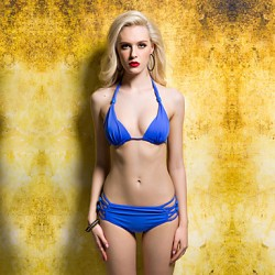 Women's Blue Beads Lacing Bikini Australia Swimwear