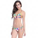 Women Halter Tankinis , Tassels Floral Bandage Geometric Push Up Underwire Bra Others Multi Color