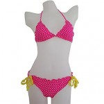 Women's Halter Bikinis Australia , Dot Nylon/Spandex Blue/Yellow/Red