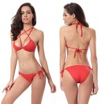 Women Polyester Spandex Push Up Bra Crossed Halter Bikinis Australia