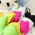 Women Halter Bikinis Australia , Solid Underwire Bra Nylon Others Spandex White Pink Yellow Green Black