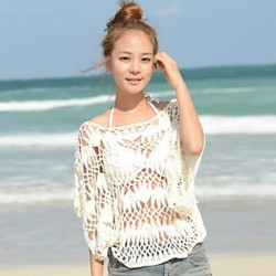 Women's Hollow Knitted Loose Bat Sleeve Pullover