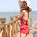 Summer Fashion Explosion Models Lady High Collar Backless One Piece Swimsuit