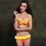 Women Halter Bikinis Australia , Ruffle Push Up Wireless Padded Bras Nylon Spandex Pink Green Orange