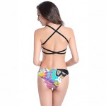 Women Bandeau Tankinis , Cross Color Block Floral Push Up Racerback Padded Bras Others Multi Color