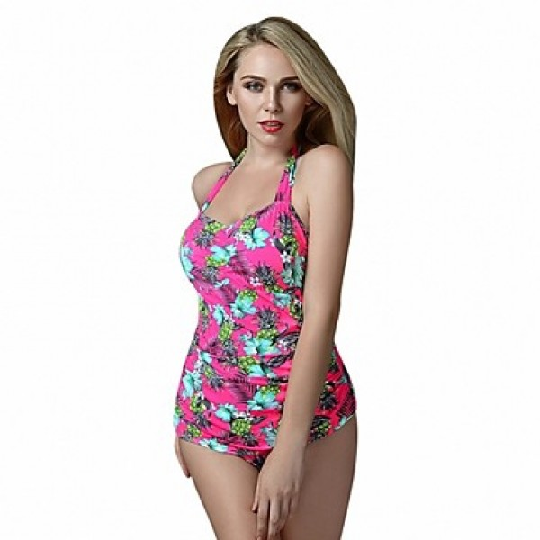 Foclassy Women's Push Up Plus Size Print One piece Swimwear Australia With Halter Neck Swimming Suit Swimwear
