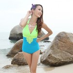 Summer New Fashion Lady Sexy Deep V Backless One Piece Swimsuit