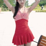 Summer Explosion Models Women Sexy Stripes Backless One Piece Swimsuit