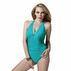 One Piece Foclassy Slim Fit Push Up Halter Pleat Retro Vintage Bathing Suit Swimsuit Australia Swimming Suit Swimwear