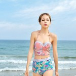Fashion Lady Sexy High Waist Flower Print Push Up Bikini Australia Swimsuit