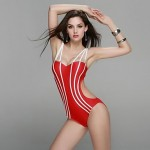Women Bandeau Straped One Pieces , Solid Push Up Spandex White Green Red Black