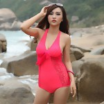 Lady Sexy Fashion Backless Push Up Lace One Piece Swimwear Australia Swimsuit