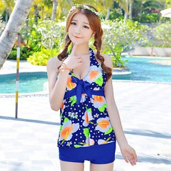 New Women Elegance Flower Print Push Up Backless Tankini Set Swimsuit Australia Swimwear