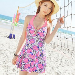 Summer New Women Elegant Flower Print Backless One Piece Swimsuit Australia Swimwear