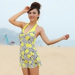 Summer New Women's Elegant Flower Print Backless One Piece Swimsuit Australia Swimwear