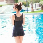 Women Halter One Pieces , Solid Mesh Core Spun Yarn Black