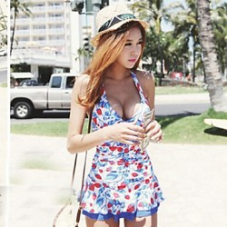 Women's Halter One-pieces , Ruffle/Bandage Wireless Polyester Multi-color