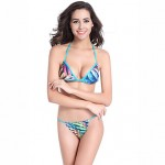 Women's Halter Bikinis Australia , Color Block / Floral / Bandage Push-up / Padded Bras Others Multi-color