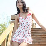 Summer Fashion Explosion Models Women Cherry Print Push Up One Piece Swimsuit