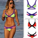 Women Wireless Color Block Halter Bikinis Australia Polyester More Colors