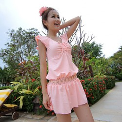 Women Straped Multi Pieces , Solid Ruffle Nylon Others Spandex Pink Blue