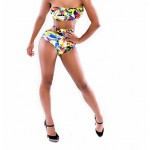 Women Bandeau Tankinis , High Rise Floral Wireless Padless Bra Others Multi Color