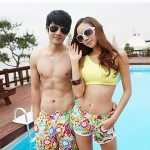 Fashionable Sun Printing Stripe Lovers Beach Pants Men And Women Two Sets