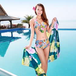 Women's Large Yard Printing Bikini Australia Three Sets of Swimsuit