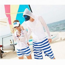 Fashionable Blue And White Stripe Lovers Beach Pants Men And Women Two Sets