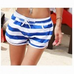Fashionable Blue and White Stripe Lovers Beach Pants (Men and Women Two Sets)