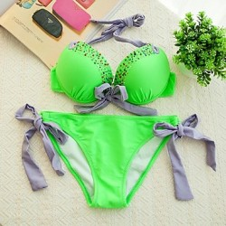 Women's Fashion Sexy Lime Green Split Beading Push Up Bikini Australia Set Swimwear Australia Swimsuit Australia Beachwear