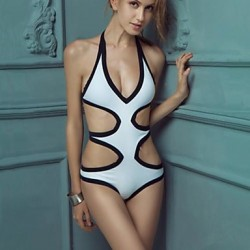 Women's Fashion Sexy black and white Split Hollow One Piece Bikini Australia Swimwear Australia Swimsuit Australia Bathing Suit