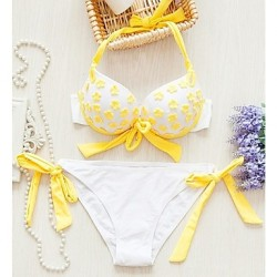 Women's Fashion Sexy Yellow Flower Split Push Up Bikini Australia Set Swimwear Australia Swimsuit Australia Beachwear