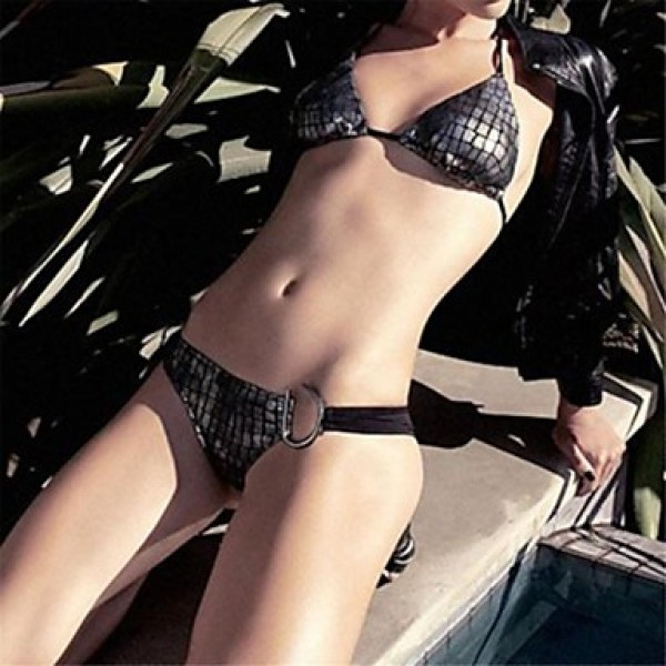 Women Halter Bikinis Australia , Animal Nylon Spandex Black
