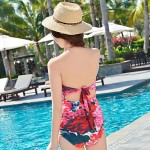 Women Spandex Halter Flower Pattern Sexy Siamese Triangle One-pieces