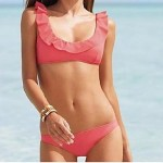 Women Bandeau Tankinis , Solid Polyester White Pink Black