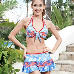 Sanqi Women's New Arrival USA Flag Pattern Push-up Deep V Three Pieces Swim Dress Bikini Australia Swimming Suit